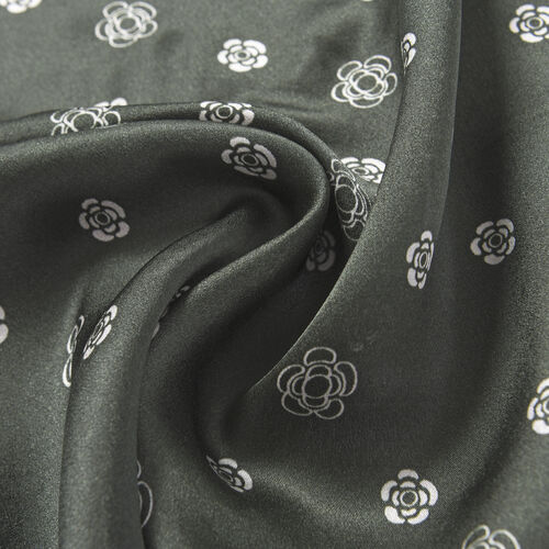 LA MAREY Pure 100% Mulberry Silk Scarf in Green Flower Print