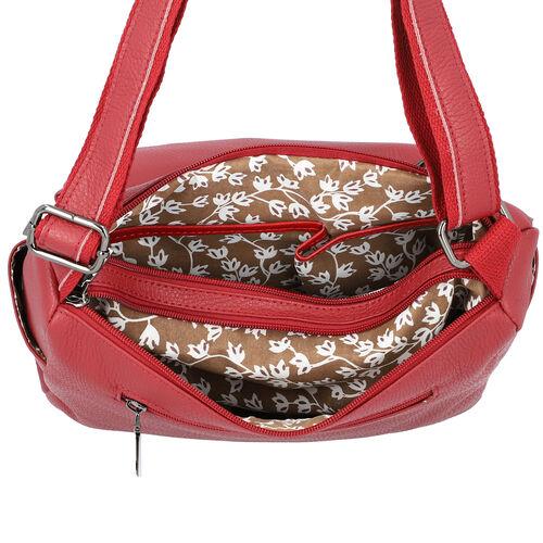 100% Genuine Leather Multiple Pocket Crossbody Bag with Zipper Closure & Adjustable Shoulder Strap (Size 28x23x10 Cm) - Burgundy
