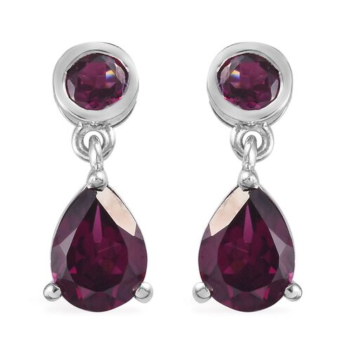 Rhodolite Garnet (Pear and Rnd) Earrings (with Push Back) in Platinum Overlay Sterling Silver 3.00 C