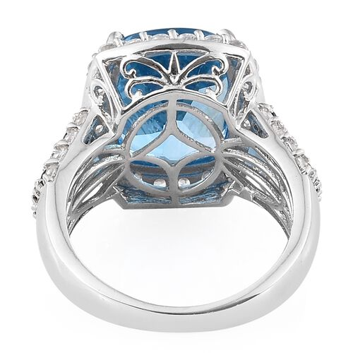 Marambaia Topaz (Cush 9.50 Ct), Natural Cambodian Zircon and Kanchanaburi Blue Sapphire Ring in Platinum Overlay Sterling Silver 12.000 Ct. Silver wt 6.77 Gms.