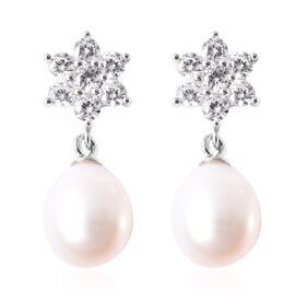 Freshwater White Pearl and Simulated Diamond Floral Drop Earrings (with Push Back) in Rhodium Overla