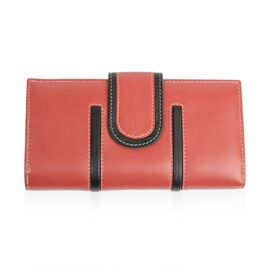 Close Out Deal - 100% Genuine Leather Wallet with Multi Compartments - Rojo