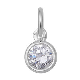 ELANZA Simulated Diamond (Rnd) Soliatire Pendant in Sterling Silver 0.840 Ct.