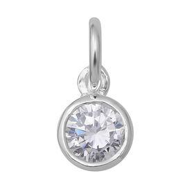 ELANZA Simulated Diamond (Rnd) Soliatire Pendant in Sterling Silver 0.840 Ct.