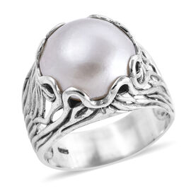 Royal Bali Mabe White Pearl Solitaire Ring in Sterling Silver 5.87 Grams