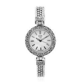 Royal Bali Collection EON 1962 Swiss Movement Sterling Silver Water Resistant Braided Chain Watch (S