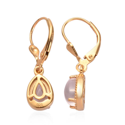 AA Rose Quartz Drop Lever Back Earrings in 14K Gold Overlay Sterling Silver 1.65 Ct.
