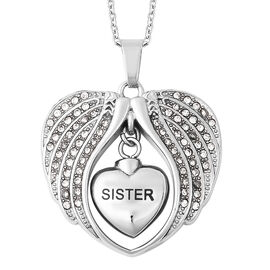 White Austrian Crystal Sister Angel Wing Heart Memorial Urn Pendant with Chain (Size 20) in Stainles