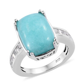 7 Carat Natural Peruvian Amazonite and Cambodian Zircon Solitaire Design Ring in Sterling Silver