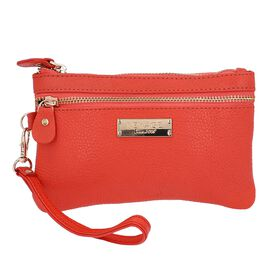 100% Genuine Leather Wristlet  Pouch with Zipper Closure (Size 12x18 Cm) - Coral