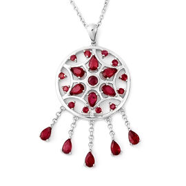 LucyQ Dream Catcher Collection - African Ruby Pendant with Chain (Size 20) in Rhodium Overlay Sterli
