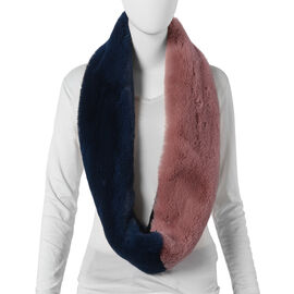 Pink and Navy Faux Fur Infinity Scarf (Size 70x15cm)