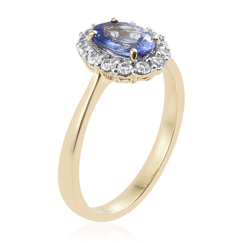 Limited Edition - 9K Y Gold AA Tanzanite and Natural Cambodian Zircon Ring 2.250 Cts., Gold wt 2.98 Gms.