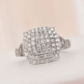 1 Carat Natural Diamond Cluster Ring in 9K White Gold SGL Certified I3 GH