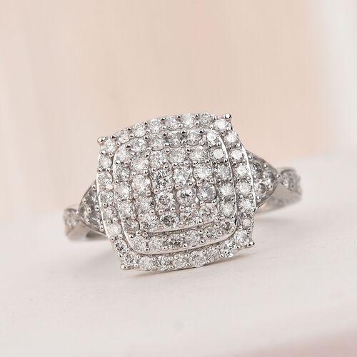 1 Carat Natural Diamond Cluster Ring in 9K White Gold SGL Certified I3 GH