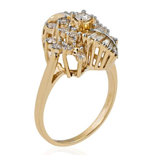 14K Yellow Gold (I1-I2/G-H) Diamond (Rnd) Ring 0.920 Ct, Gold wt 5.00 Gms.