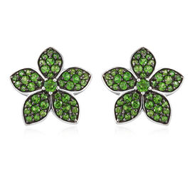 Russian Diopside (Rnd), Floral Stud Earrings in Platinum Overlay Sterling Silver 2.250 Ct.