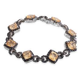 Citrine (Cush), Boi Ploi Black Spinel Bracelet (Size 7) in Black Rhodium Plated Silver 20.910 Ct. Si