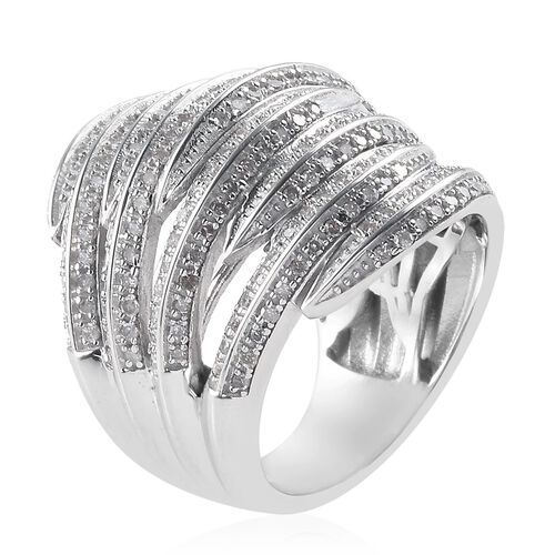 Diamond Cluster Ring in Platinum Overlay Sterling Silver 1.00 Ct, Silver wt 10.40 Gms