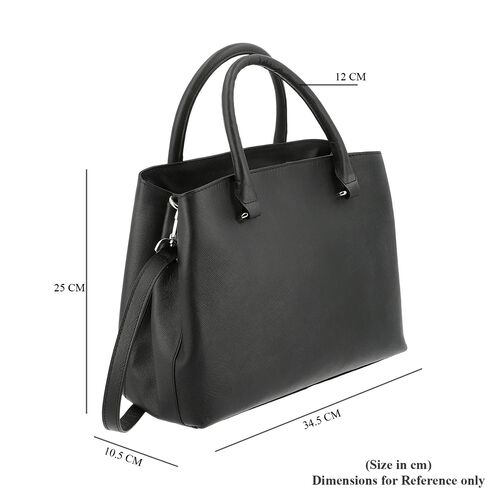 100% Genuine Leather Shoulder Bag with Detachable Strap (Size 34.5x10.5x25 Cm) - Black