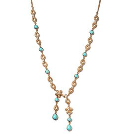 Arizona Sleeping Beauty Turquoise and Natural Cambodian Zircon Necklace (Size - 18 with 2 inch Exten