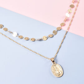 Double Layer Necklace (Size 16 with 4 inch Extender) in Gold Tone