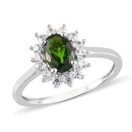 AA Russian Diopside and Natural Cambodian Zircon Halo Ring in Platinum Overlay Sterling Silver 1.070