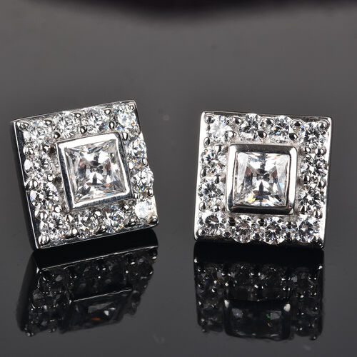 J Francis - Platinum Overlay Sterling Silver Stud Earrings (with Push Back) Made with SWAROVSKI ZIRCONIA 5.54 Ct.