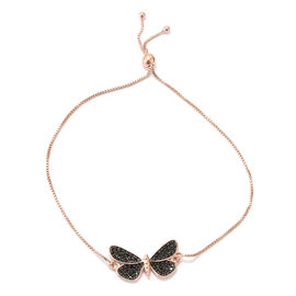 Boi Ploi Black Spinel (Rnd) Butterfly Adjustable Bracelet (Size 6.5 to 9.5) in Rose Gold and Black Overlay Sterling Silver 0.750 Ct