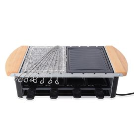 Multifunctional Raclette Grill with 8 Skewers and Granite Plate (Serves 8 People)