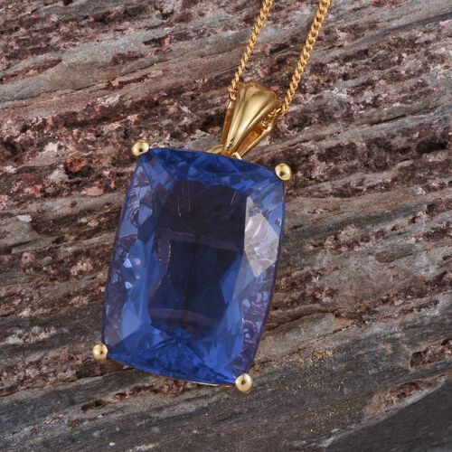 Colour Change Fluorite (Cush) Pendant With Chain in 14K Gold Overlay Sterling Silver 15.000 Ct.