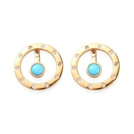 1.40 Ct Arizona Sleeping Beauty Turquoise and Zircon Drop Earrings in Gold Plated Sterling Silver