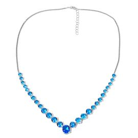 Simulated Blue Topaz (Rnd and Ovl) Necklace (Size 20 with 1.5 inch Extender) in Silver Tone