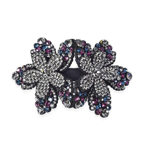 Flower Hair Clip - Dark Purple, Blue Black and Grey