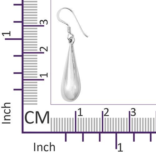 Designer Inspired- High Polished Sterling Silver Raindrop Hook Earrings