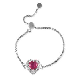GP 1.32 Ct African Ruby and Multi Gemstone Adjustable Ring in Platinum Plated Sterling Silver