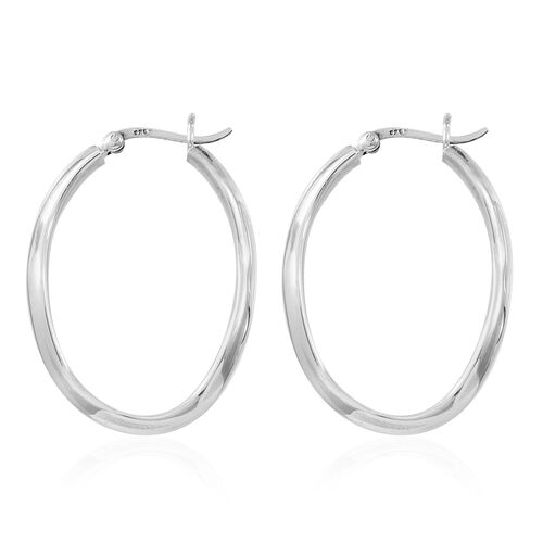 Vicenza Collection-Sterling Silver Twisted Hoop Earrings (with Clasp), Silver wt. 6.00 Gms.
