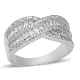 ELANZA Simulated Diamond Criss Cross Ring in Rhodium Plated Sterling Silver