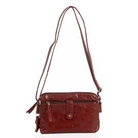 Super Chic 100% Genuine Leather Multi Compartment Burgundy Colour Handbag with Shoulder Strap (22x9x