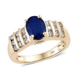 9K Yellow Gold AAA Blue Spinel (Ovl), Natural Cambodian Zircon Ring 2.000 Ct.
