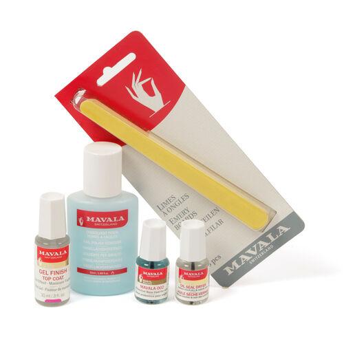 MAVALA- Treatment set -Gel effect nail system- 50ml Blue nail polish remover , 5ml 002 Base Coat, 5ml Oil Seal Dryer, 10ml Gel Effect Top Coat, 8pcs Emery Boards