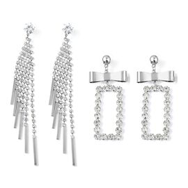 Set of 2 - White Austrian Crystal (Rnd), Simulated Diamond Earrings (with Push Back) in Silver Tone
