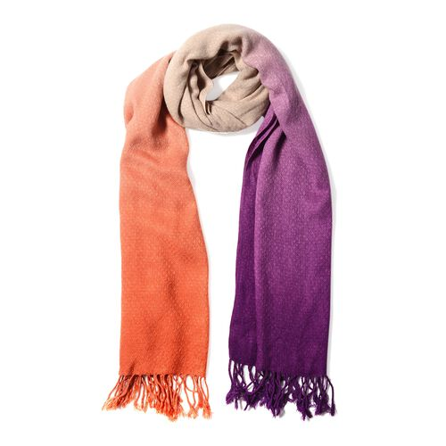 Orange, Purple and Ice Coffee Colour Scarf (Size 180x62 Cm)