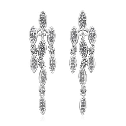 Limited Edition - Designer Inspired - Diamond (Rnd) Earrings (with Push Back) in Platinum Overlay St