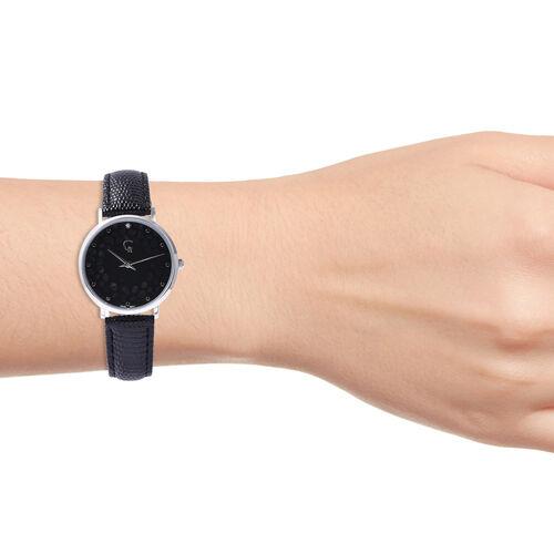 Rachel Galley Diamond Studded Swiss Movement Watch with Black Genuine Leather Strap