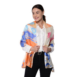 LA MAREY 100% Mulberry Silk Multi Colour and Orange Abstract  Print Scarf (165x50cm)