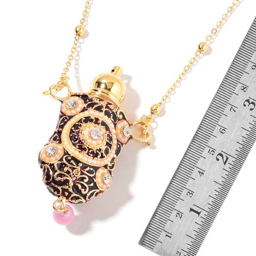 Turkish Style Perfume Bottle Necklace (Size 27) with Simulated Pink Cats Eye, Simulated Golden Pearl, Simulated White Pearl and White Austrian Crysta in Yellow Gold Tone