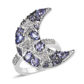 GP 1.75 Ct Tanzanite and Multi Gemstone Crescent Moon Ring in Platinum and Black Plated Silver