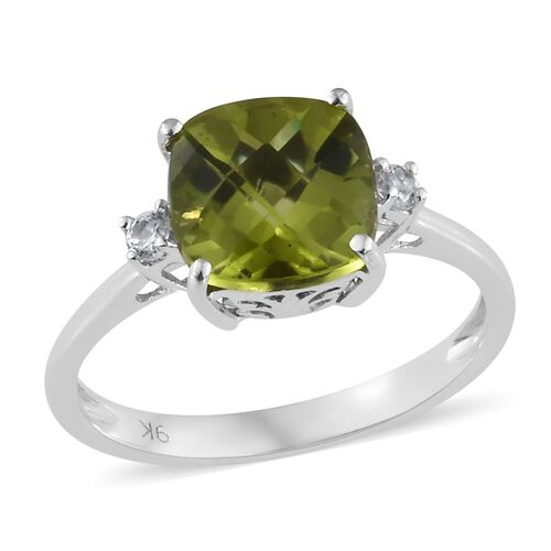 2.35 Ct AA Hebei Peridot and Cambodian Zircon Ring in 9K White Gold