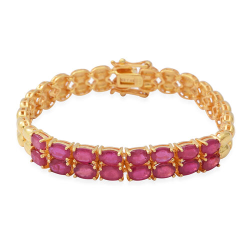 10.40 Ct African Ruby Tennis Design Bracelet in Gold Plated Silver 17.27 Grams 7.5 Inch